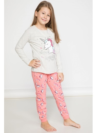 DeFacto Unicorn Baskılı Pijama Takımı Gri